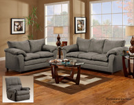VICTORY LANE GRAPHITE MICRO-SUADE UPHOLSTERY  2 PCS SOFA AND LOVESEAT