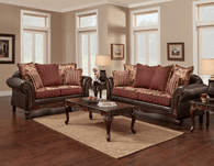 2PC Monte Cristo/Wine Sofa and Loveseat Set - 6350 - Monte Cristo