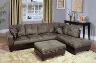 2 PCS Wyatt GREY SECTIONAL WITH ACCENT PILLOWS (LEFT FACING SOFA) - F102B