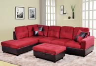 2 PCS CHRISTROPHER RED SECTIONAL WITH ACCENT PILLOWS (RIGHT FACING SOFA) - F104A