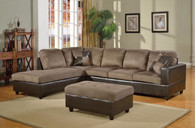 2 PCS MASON BROWN SECTIONAL WITH ACCENT PILLOWS (RIGHT FACING SOFA) - F21A