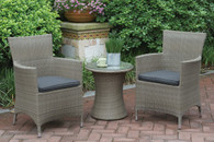 3PC OUTDOOR BISTRO SET IN LIGHT GREY FINISH