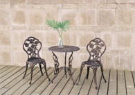 3PC FLORAL PATTERN BISTRO SET BRONZE FINISH