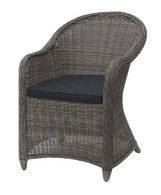OUTDOOR ARM CHAIR IN TAN RESIN WICKER