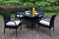 5PCS OUTDOOR PATIO TABLE SET DARK BROWN FINISH