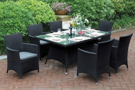 7PCS OUTDOOR PATIO TABLE SET TANNED RUST FREE AND WEATHER RESISTANT