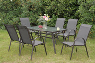 7PCS OUTDOOR PATIO TABLE SET IN TAN STEEL FRAME FINISH