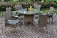 7PCS OUTDOOR PATIO TABLE SET TANNED DURABLE WICKER RESIN FINISH