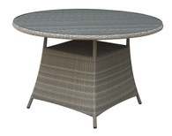 OUTDOOR ROUND TABLE IN ALUMINUM AND TAN RESIN WICKER FINISH