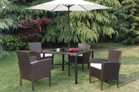 6PC OUTDOOR PATIO TABLE SET W/UMBRELLA