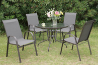 5PCS OUTDOOR PATIO SET WITH ROUND TABLE AND A FROSTED COUNTERTOP