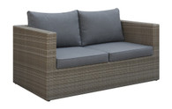 OUTDOOR LOVESEAT IN TAN RESIN WICKER