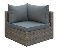OUTDOOR CORNER WEDGE TAN RESIN WICKER FINISH WITH GREY SEAT AND BACK CUSHIONS