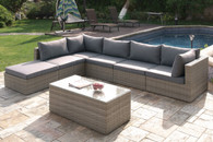 7PC OUTDOOR PATIO SOFA SET IN TAN RESIN WICKER FINISH AND GREY SEAT CUSHIONS