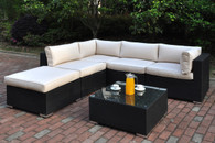 6PC OUTDOOR PATIO SECTIONAL SET IN DARK BROWN RESIN WICKER WITH COCKTAIL TABLE AND CREAM SEAT CUSHIONS