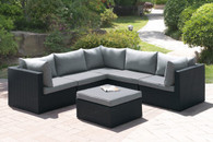 6PC OUTDOOR PATIO SOFA SET IN DARK BROWN RESIN WICKER FINISH AND GREY SEAT CUSHIONS