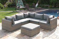 6PC OUTDOOR PATIO SOFA SET IN TAN RESIN WICKER FINISH WITH OTTOMAN