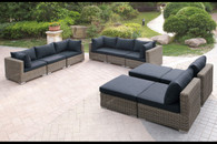 10PC OUTDOOR PATIO SOFA SET IN TAN RESIN WICKER FINISH AND BLACK SEAT CUSHIONS