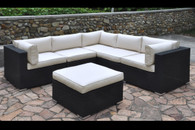 6PC OUTDOOR PATIO SECTIONAL SET WITH CREAM SEAT AND BACK SEAT CUSHIONS