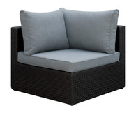 OUTDOOR CORNER WEDGE IN DARK BROWN RESIN WICKER AND GREY SEAT AND BACK CUSHIONS
