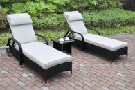 3PC OUTDOOR PATIO LOUNGER SET IN DARK BROWN RESIN WALKER FINISH