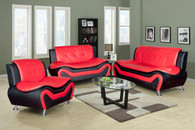 CHRISTOPHER ORANGE AND BLACK SOFA LOVESEAT WITH CHAIR 3 PCS Set - F4503