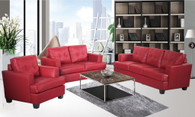 NICHOLAS RED SOFA LOVESEAT WITH CHAIR 3 PCS Set - F16