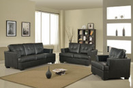 KEVIN BLACK SOFA LOVESEAT WITH CHAIR 3 PCS Set - F17B