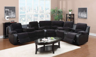 Emily 3PC Sofa Loveseat and Wedge With Recliner & Tea Table Set