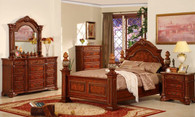 Tommaso King/Queen Size Bed Collection in Espresso Brown Wood - B3000A
