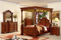 Davide King/Queen Size Bed Collection in Espresso Brown Wood