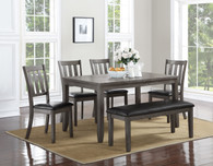 COSGROVE DINING TABLE TOP & BENCH 6 PC Set - GREY - 2361-GY