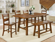 LORENZA COUNTER HEIGHT TABLE TOP & BENCH 6 PC Set - 2796T-4072