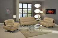 CONTEMPORARY SOFA LOVESEAT SET UPHOLSTERED IN CUPPUCINO BROWN LEATHER