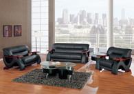 Sofa SET in BLACK Bonded Leather
