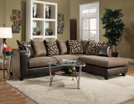 Dark Brown & Tan Sectional With Accent Pillows
