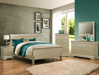 Louis Phillip 7Pcs Bedroom Suite - CHAMPAGNE