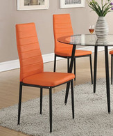 RETRO STYLE DINING CHAIR ORANGE PU 2 PCS SET-F1368/1