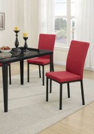 RETRO STYLE DINING CHAIR RED FABRIC 2 PCS SET-F1538