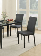 RETRO STYLE DINING CHAIR BLUE GREY FABRIC 2 PCS SET-F1539