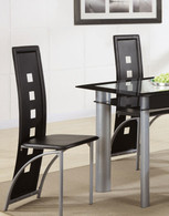 BLACK FAUX LEATHER DINING CHAIR BLACK 2 PCS SET-F1274