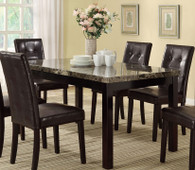 DARK BROWN MARBLE LOOK DINING TABLE-F2093