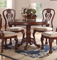 DARK CHERRY WOOD ROUND DINING TABLE-F2156