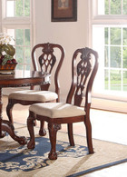 CHERRY WOOD FINISH SIDE CHAIR 2 PCS SET-F1487