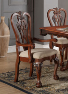 CHERRY WOOD FORMAL ARM CHAIR 2 PCS SET-F1488