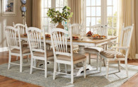 HOLLYHOCK COLLECTION DISTRESSED WHITE 7PCS TABLE SET