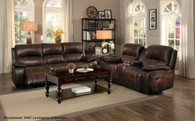MAHALA COLLECTION 2PCS SOFA AND LOVESEAT MANUAL RECLINING GENUINE LEATHER MATCH