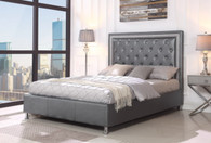 Miccaela Grey Leather Tufted Platform Bed Frame