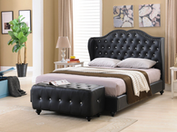 PARADISE BLACK FAUX LEATHER PLATFORM BED-Paradise Black