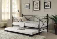 JONES METAL DAYBED WITH TRUNDLE-4964BK-NT